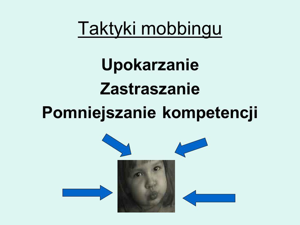 Taktyki mobbingu Upokarzanie Zastraszanie Pomniejszanie kompetencji