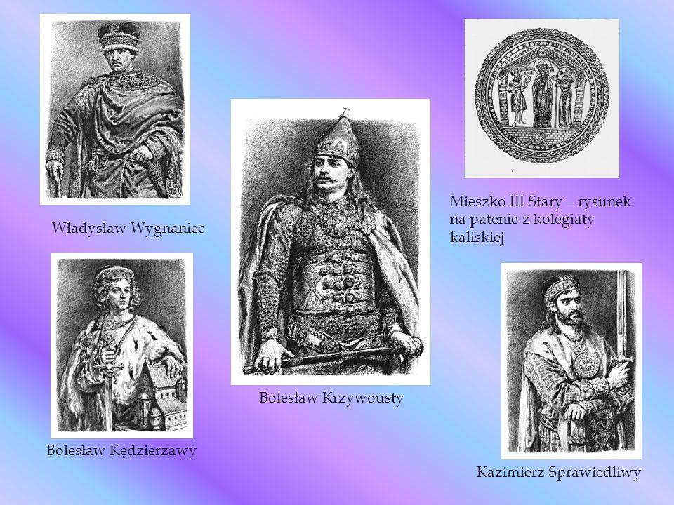 Bolesław Kędzierzawy Władysław Wygnaniec Kazimierz Sprawiedliwy Mieszko III Stary – rysunek na patenie z kolegiaty kaliskiej