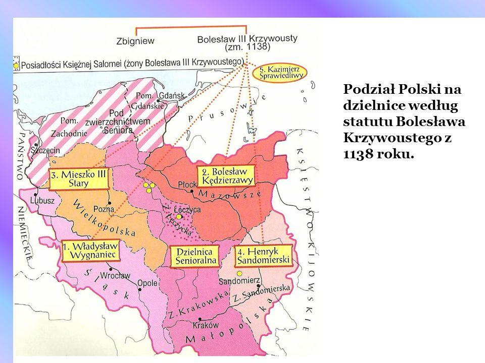 Podział Polski na dzielnice według statutu Bolesława Krzywoustego z 1138 roku.