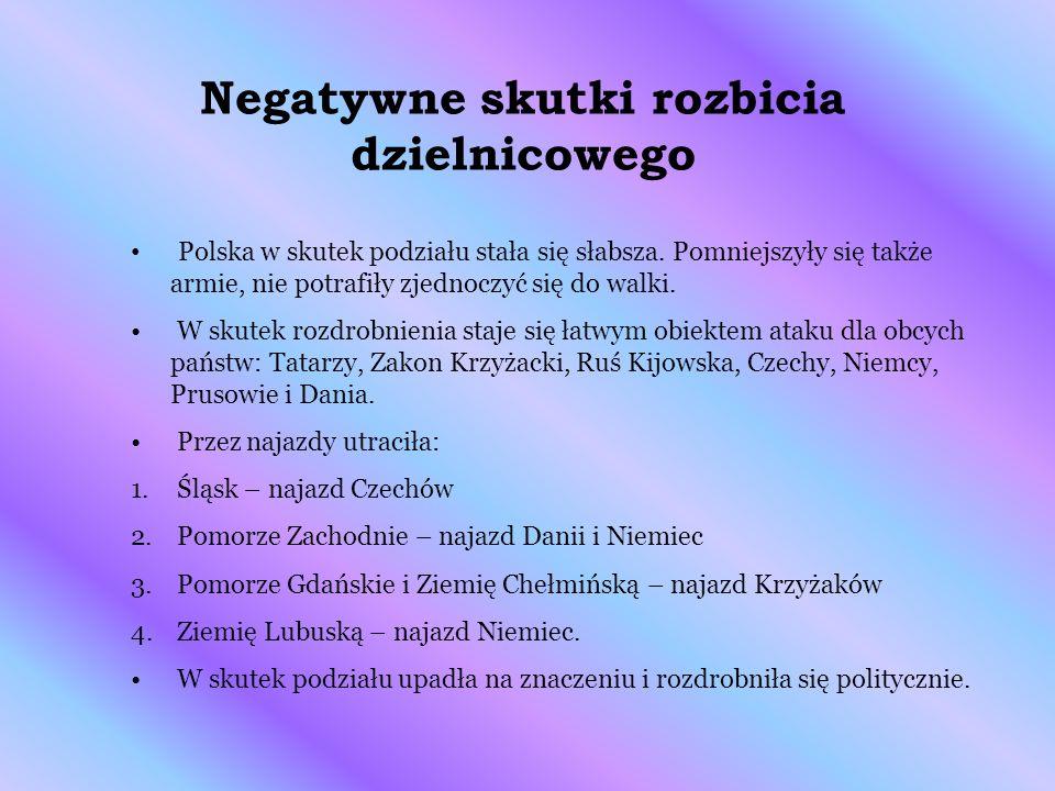 Negatywne skutki rozbicia dzielnicowego Polska w skutek podziału stała się słabsza. Pomniejszyły się także armie, nie potrafiły zjednoczyć się do walk