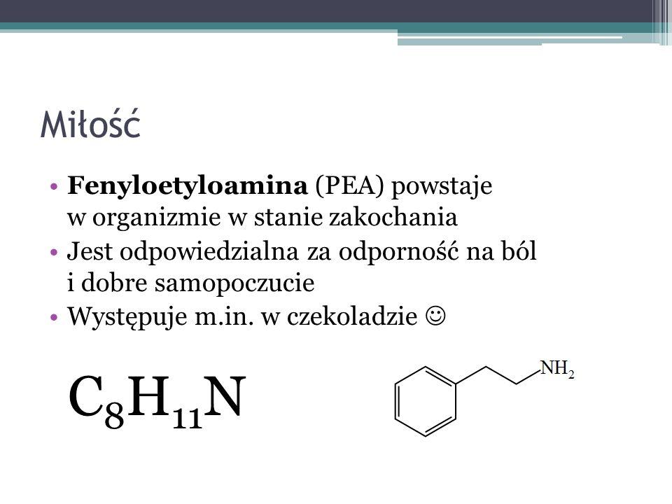 Miłość Fenyloetyloamina (PEA) powstaje w organizmie w stanie zakochania Jest odpowiedzialna za odporność na ból i dobre samopoczucie Występuje m.in. w