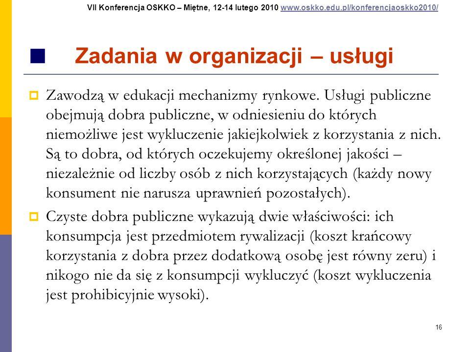 16 Zadania w organizacji – usługi Zawodzą w edukacji mechanizmy rynkowe. Usługi publiczne obejmują dobra publiczne, w odniesieniu do których niemożliw