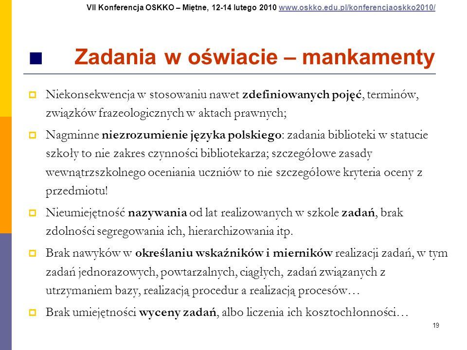 19 Zadania w oświacie – mankamenty Niekonsekwencja w stosowaniu nawet zdefiniowanych pojęć, terminów, związków frazeologicznych w aktach prawnych; Nag