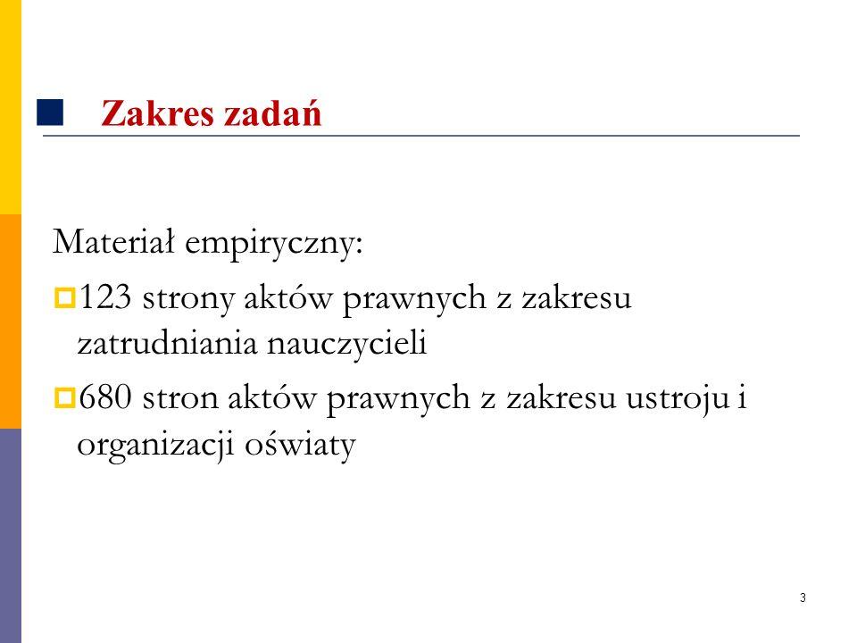 3 Zakres zadań Materiał empiryczny: 123 strony aktów prawnych z zakresu zatrudniania nauczycieli 680 stron aktów prawnych z zakresu ustroju i organiza