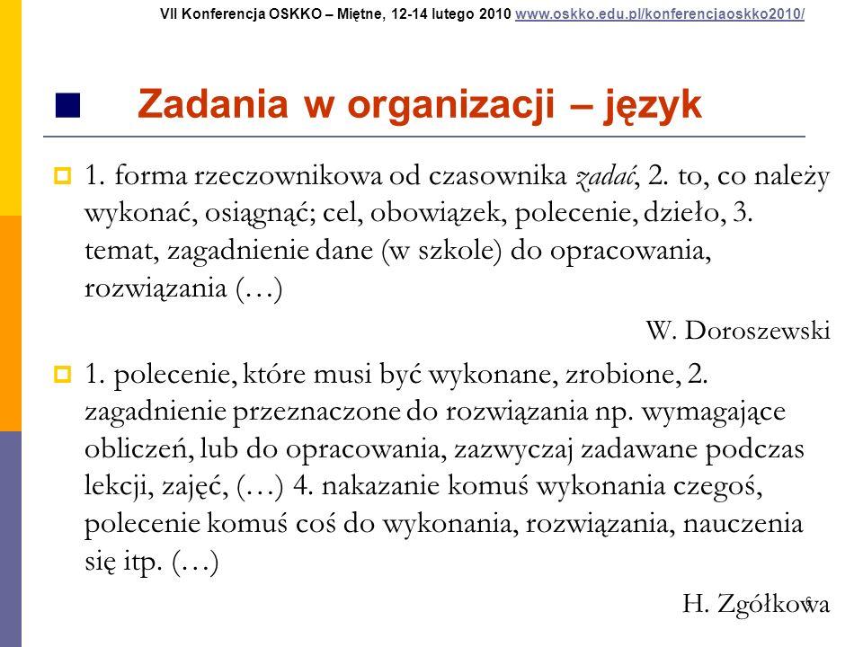 6 Zadania w organizacji – język 1. forma rzeczownikowa od czasownika zadać, 2. to, co należy wykonać, osiągnąć; cel, obowiązek, polecenie, dzieło, 3.