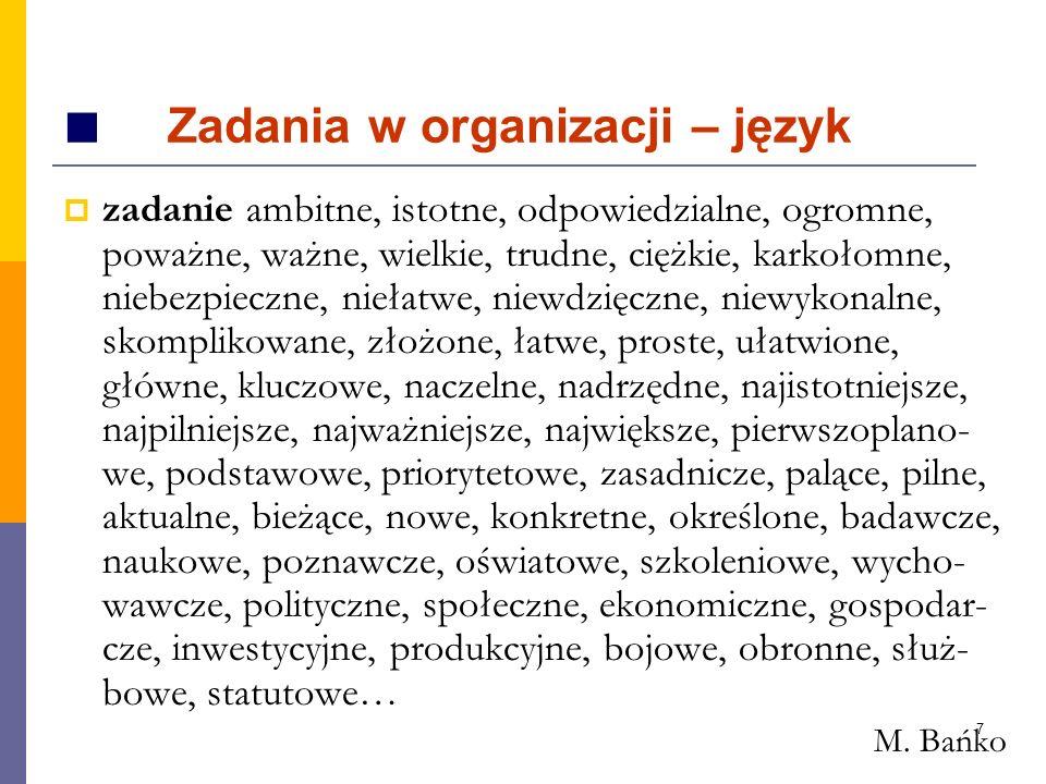 7 Zadania w organizacji – język zadanie ambitne, istotne, odpowiedzialne, ogromne, poważne, ważne, wielkie, trudne, ciężkie, karkołomne, niebezpieczne