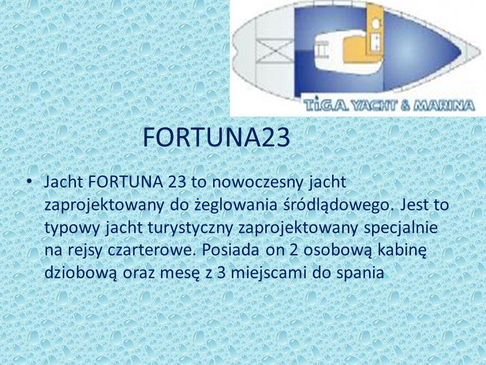 FORTUNA23 Jacht FORTUNA 23 to nowoczesny jacht zaprojektowany do żeglowania śródlądowego. Jest to typowy jacht turystyczny zaprojektowany specjalnie n