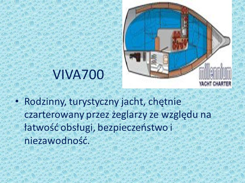VIVA700 Rodzinny, turystyczny jacht, chętnie czarterowany przez żeglarzy ze względu na łatwość obsługi, bezpieczeństwo i niezawodność.