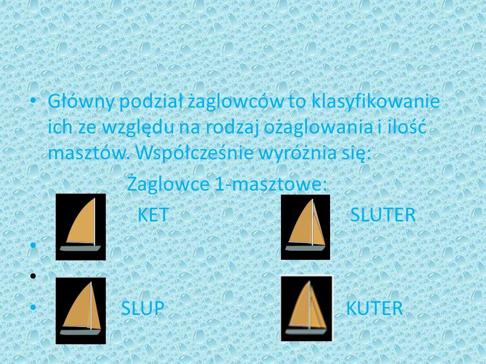 Główny podział żaglowców to klasyfikowanie ich ze względu na rodzaj ożaglowania i ilość masztów. Współcześnie wyróżnia się: Żaglowce 1-masztowe: KET S