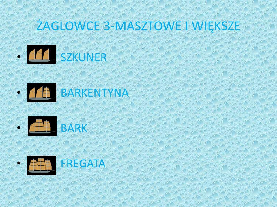 ŻAGLOWCE 3-MASZTOWE I WIĘKSZE SZKUNER BARKENTYNA BARK FREGATA