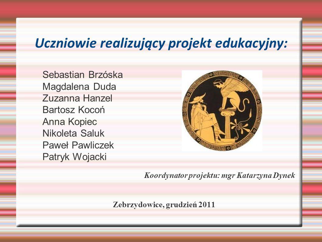 Uczniowie realizujący projekt edukacyjny: Sebastian Brzóska Magdalena Duda Zuzanna Hanzel Bartosz Kocoń Anna Kopiec Nikoleta Saluk Paweł Pawliczek Pat