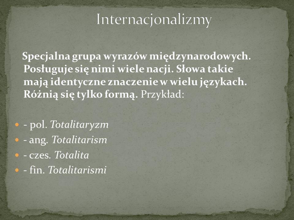 Specjalna grupa wyrazów międzynarodowych. Posługuje się nimi wiele nacji. Słowa takie mają identyczne znaczenie w wielu językach. Różnią się tylko for