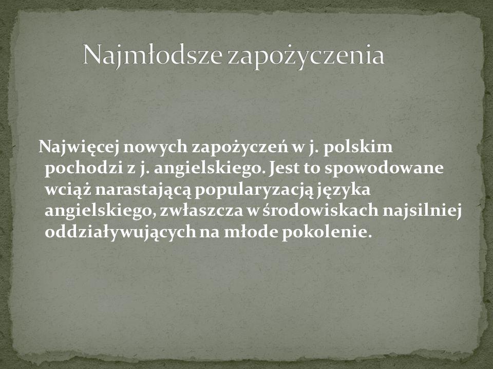 Najwięcej nowych zapożyczeń w j. polskim pochodzi z j. angielskiego. Jest to spowodowane wciąż narastającą popularyzacją języka angielskiego, zwłaszcz