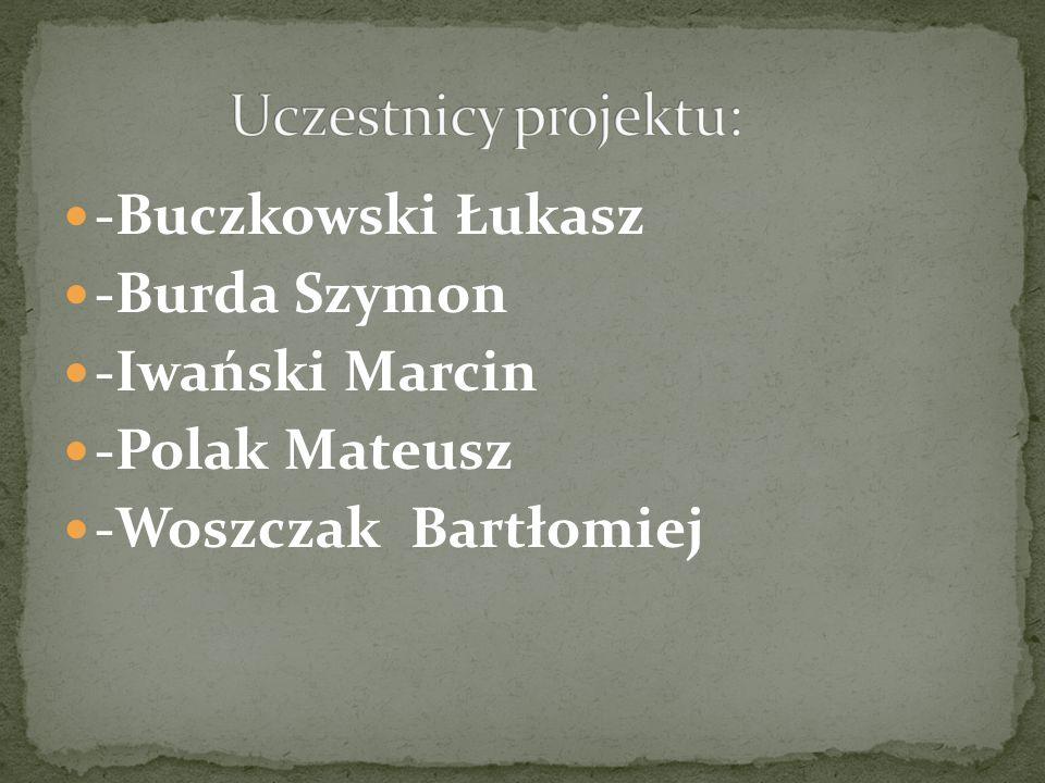 -Buczkowski Łukasz -Burda Szymon -Iwański Marcin -Polak Mateusz -Woszczak Bartłomiej