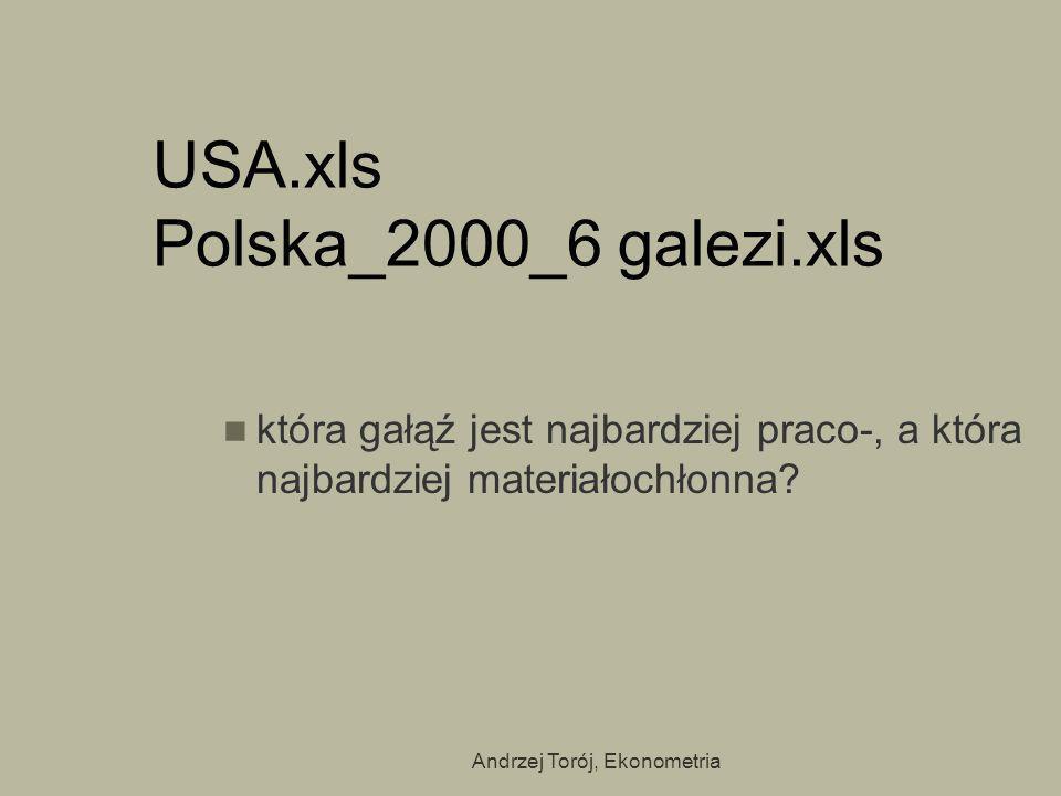 Andrzej Torój, Ekonometria USA.xls Polska_2000_6 galezi.xls która gałąź jest najbardziej praco-, a która najbardziej materiałochłonna?