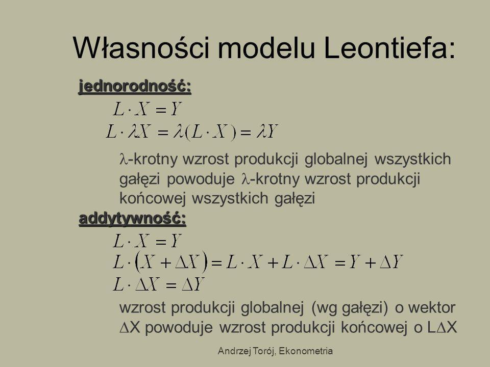 Andrzej Torój, Ekonometria Własności modelu Leontiefa: jednorodność: -krotny wzrost produkcji globalnej wszystkich gałęzi powoduje -krotny wzrost prod