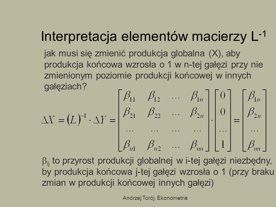 Andrzej Torój, Ekonometria Interpretacja elementów macierzy L -1 jak musi się zmienić produkcja globalna (X), aby produkcja końcowa wzrosła o 1 w n-te
