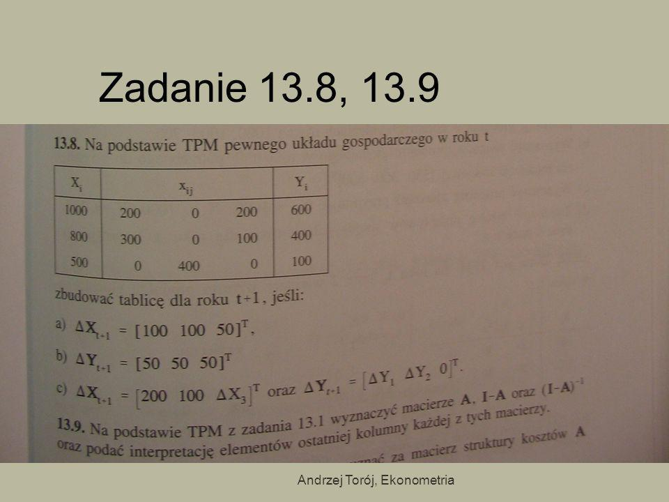 Andrzej Torój, Ekonometria Zadanie 13.8, 13.9