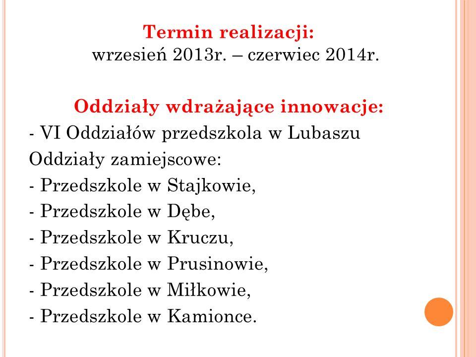 Termin realizacji: wrzesień 2013r.– czerwiec 2014r.