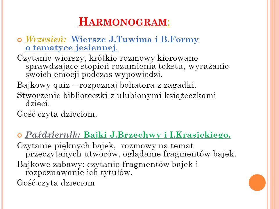 H ARMONOGRAM : Wrzesień: Wiersze J.Tuwima i B.Formy o tematyce jesiennej. Czytanie wierszy, krótkie rozmowy kierowane sprawdzające stopień rozumienia