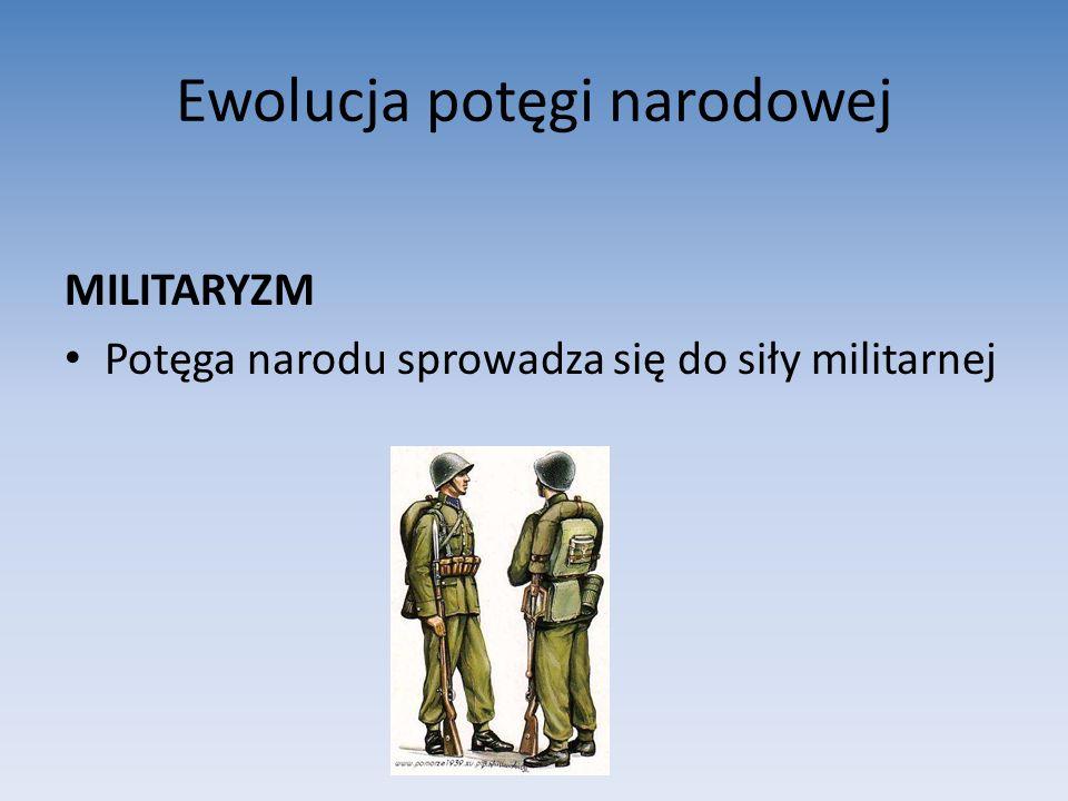 Ewolucja potęgi narodowej MILITARYZM Potęga narodu sprowadza się do siły militarnej
