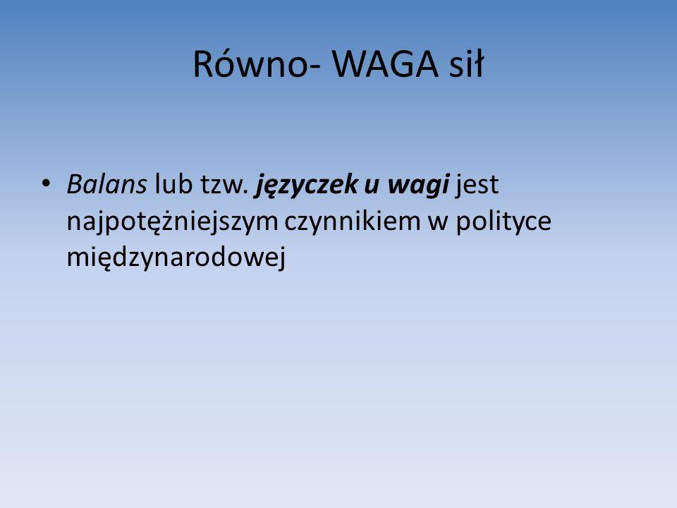 Równo- WAGA sił Balans lub tzw.