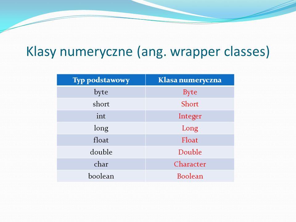 Klasy numeryczne (ang. wrapper classes) Typ podstawowyKlasa numeryczna byteByte shortShort intInteger longLong floatFloat doubleDouble charCharacter b