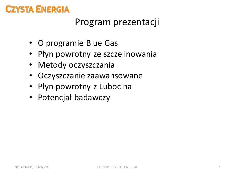 Program prezentacji O programie Blue Gas Płyn powrotny ze szczelinowania Metody oczyszczania Oczyszczanie zaawansowane Płyn powrotny z Lubocina Potenc