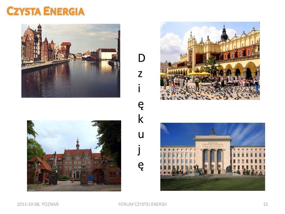 2013-10-08, POZNAŃFORUM CZYSTEJ ENERGII21 DziękujęDziękuję