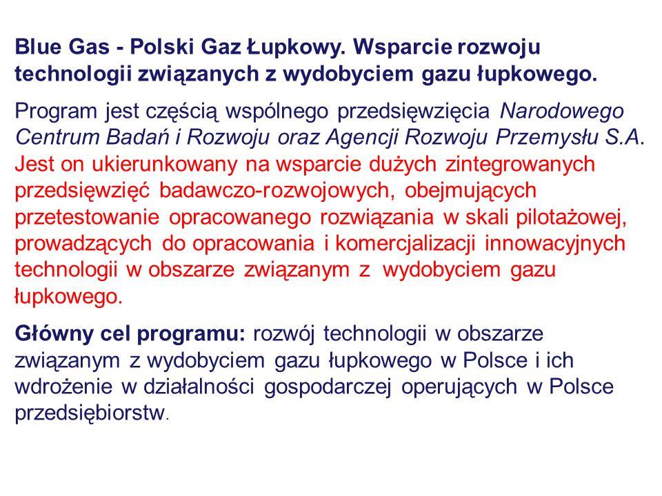 Blue Gas - Polski Gaz Łupkowy. Wsparcie rozwoju technologii związanych z wydobyciem gazu łupkowego. Program jest częścią wspólnego przedsięwzięcia Nar