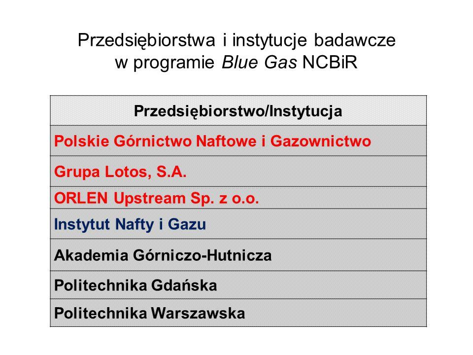 Przedsiębiorstwo/Instytucja Polskie Górnictwo Naftowe i Gazownictwo Grupa Lotos, S.A. ORLEN Upstream Sp. z o.o. Instytut Nafty i Gazu Akademia Górnicz