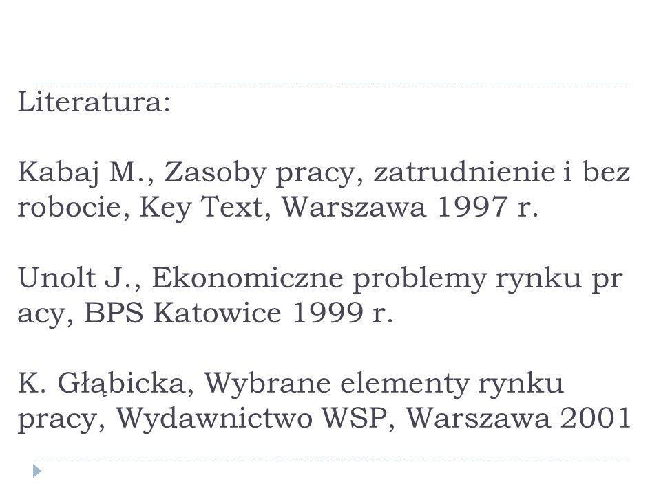 Literatura: Kabaj M., Zasoby pracy, zatrudnienie i bez robocie, Key Text, Warszawa 1997 r. Unolt J., Ekonomiczne problemy rynku pr acy, BPS Katowice 1