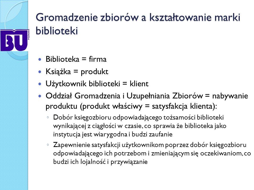 Kształtowanie marki BU w Poznaniu na poziomie procesu gromadzenia zbiorów Profilowanie zbiorów biblioteki jako wyraz dostosowania zasobów do aktualnych i potencjalnych potrzeb użytkowników Zwracanie uwagi na jakość (wysoki poziom merytoryczny) dobieranego księgozbioru Połączenie tradycji z nowoczesnością: zbiorów historycznych i nowości na rynku wydawniczym oraz budowa zasobu hybrydowego: zbiorów drukowanych i wydawnictw elektronicznych Uwzględnienie relacji zwrotnych pomiędzy dostawcą, biblioteką a czytelnikiem