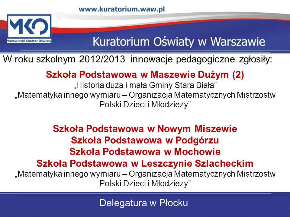 W roku szkolnym 2012/2013 innowacje pedagogiczne zgłosiły: Szkoła Podstawowa w Maszewie Dużym (2) Historia duża i mała Gminy Stara Biała Matematyka in