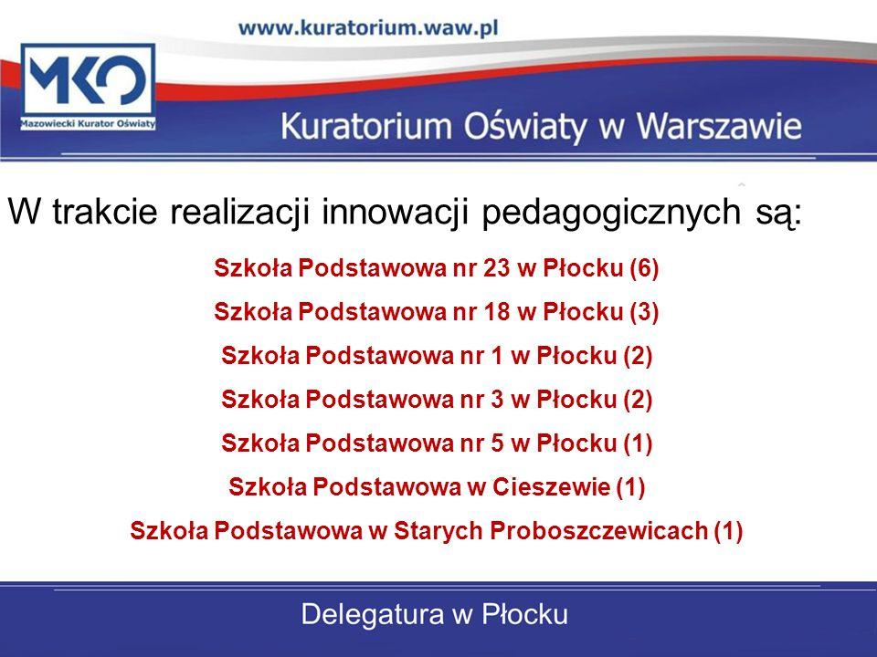 W trakcie realizacji innowacji pedagogicznych są: Szkoła Podstawowa w Słubicach (1) Szkoła Podstawowa w Słupnie (1) Szkoła Podstawowa w Łęgu Probostwie (1) Szkoła Podstawowa w Rogotwórsku (1) Szkoła Podstawowa w Gąbinie (1) Szkoła Podstawowa w Małej Wsi (1) Szkoła Podstawowa w Brudzeniu Dużym (1)
