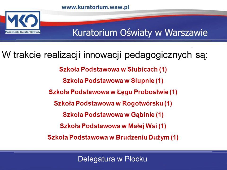 W trakcie realizacji innowacji pedagogicznych są: Szkoła Podstawowa w Słubicach (1) Szkoła Podstawowa w Słupnie (1) Szkoła Podstawowa w Łęgu Probostwi