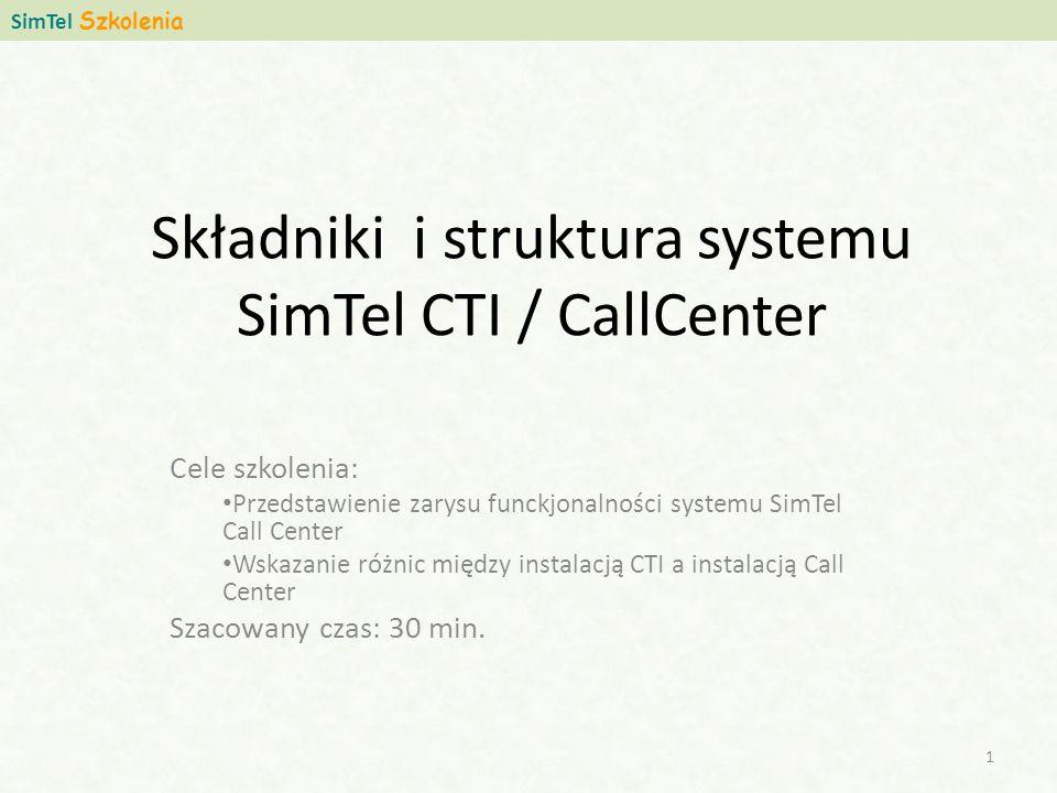 Składniki i struktura systemu SimTel CTI / CallCenter Cele szkolenia: Przedstawienie zarysu funckjonalności systemu SimTel Call Center Wskazanie różnic między instalacją CTI a instalacją Call Center Szacowany czas: 30 min.