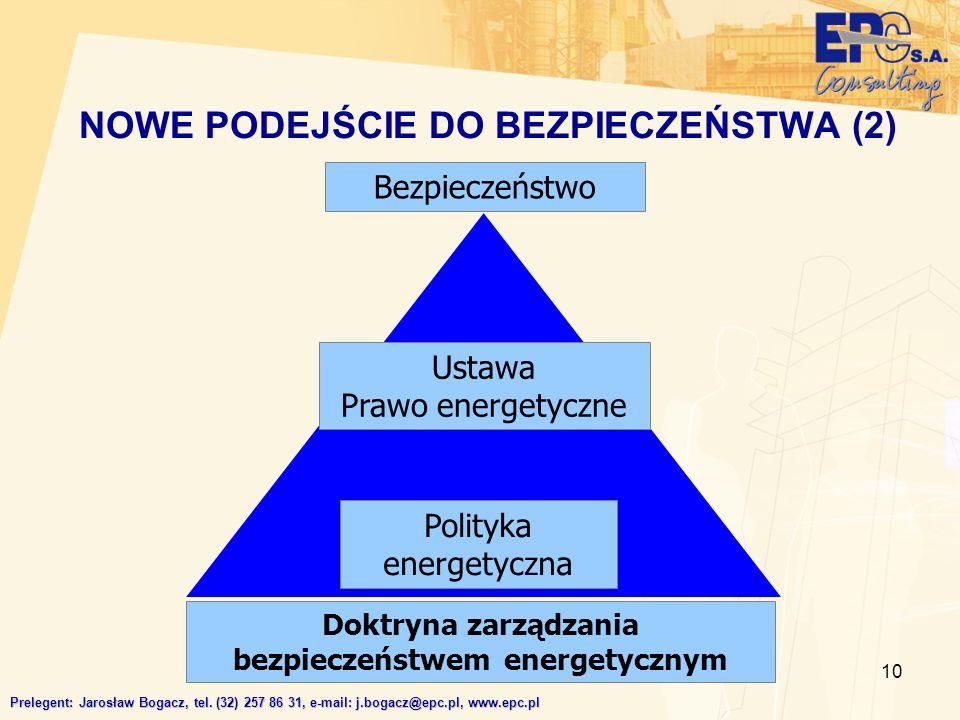 10 NOWE PODEJŚCIE DO BEZPIECZEŃSTWA (2) Prelegent: Jarosław Bogacz, tel. (32) 257 86 31, e-mail: j.bogacz@epc.pl, www.epc.pl Ustawa Prawo energetyczne