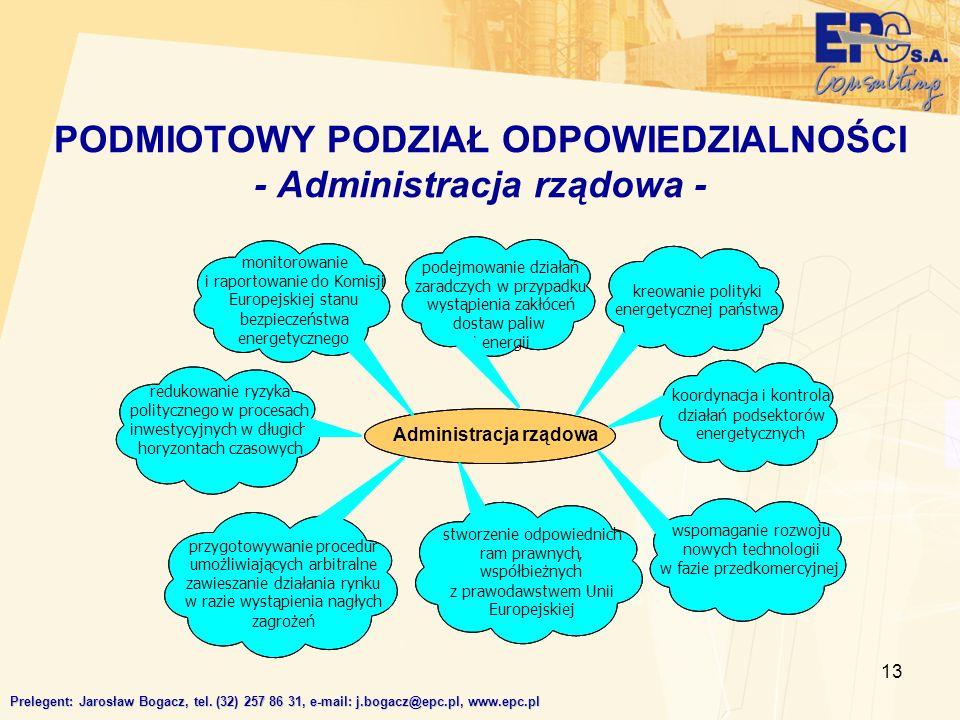 13 PODMIOTOWY PODZIAŁ ODPOWIEDZIALNOŚCI - Administracja rządowa - Prelegent: Jarosław Bogacz, tel. (32) 257 86 31, e-mail: j.bogacz@epc.pl, www.epc.pl
