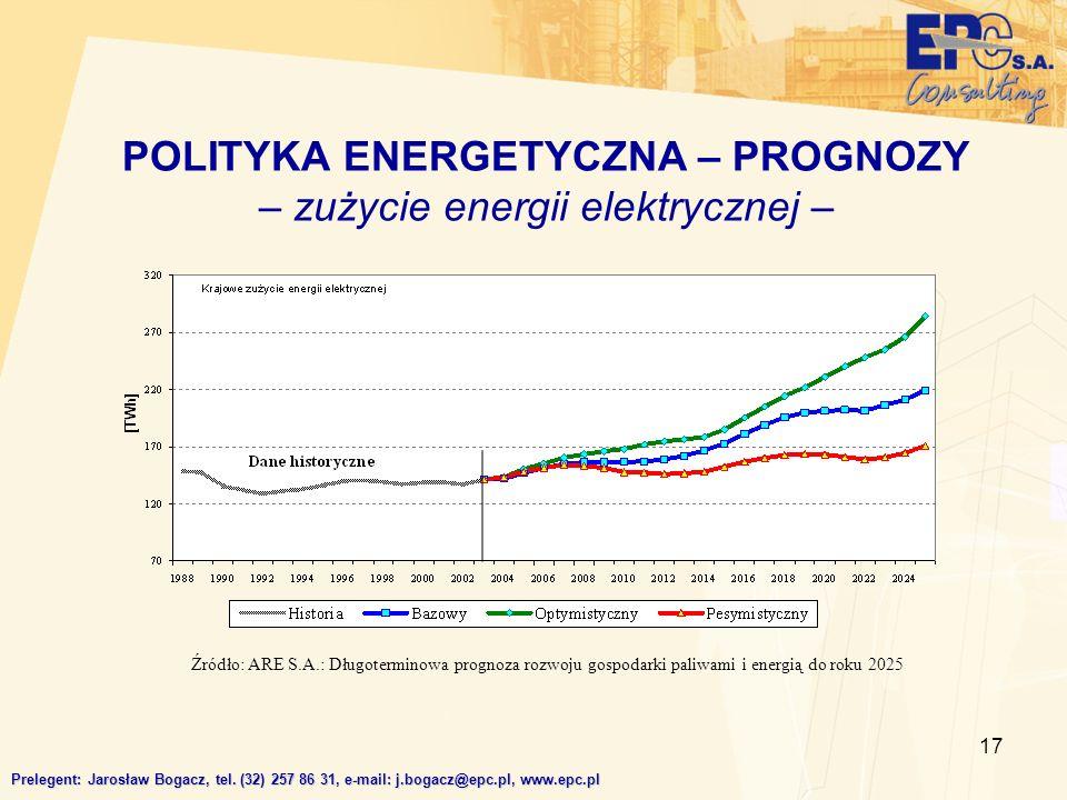 17 POLITYKA ENERGETYCZNA – PROGNOZY – zużycie energii elektrycznej – Prelegent: Jarosław Bogacz, tel. (32) 257 86 31, e-mail: j.bogacz@epc.pl, www.epc
