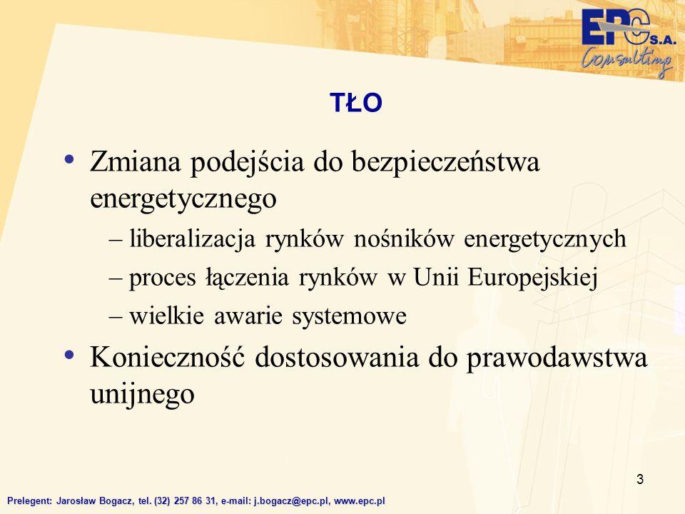 3 TŁO Prelegent: Jarosław Bogacz, tel. (32) 257 86 31, e-mail: j.bogacz@epc.pl, www.epc.pl Zmiana podejścia do bezpieczeństwa energetycznego – liberal