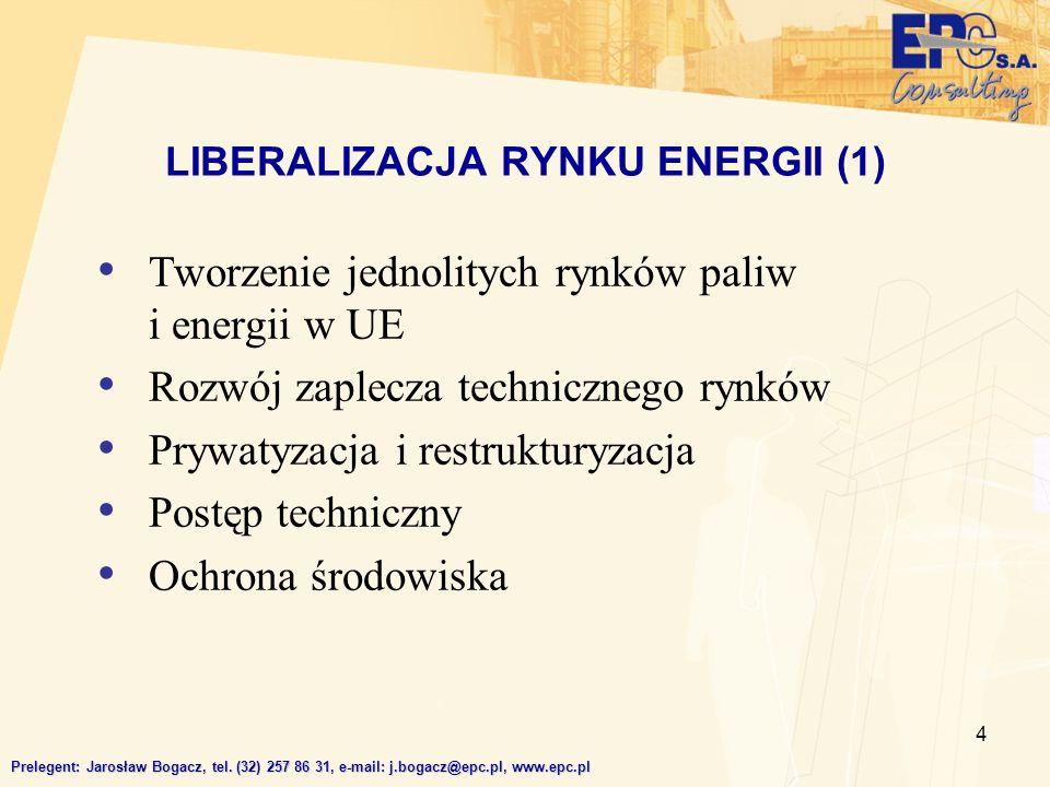 4 Tworzenie jednolitych rynków paliw i energii w UE Rozwój zaplecza technicznego rynków Prywatyzacja i restrukturyzacja Postęp techniczny Ochrona środ