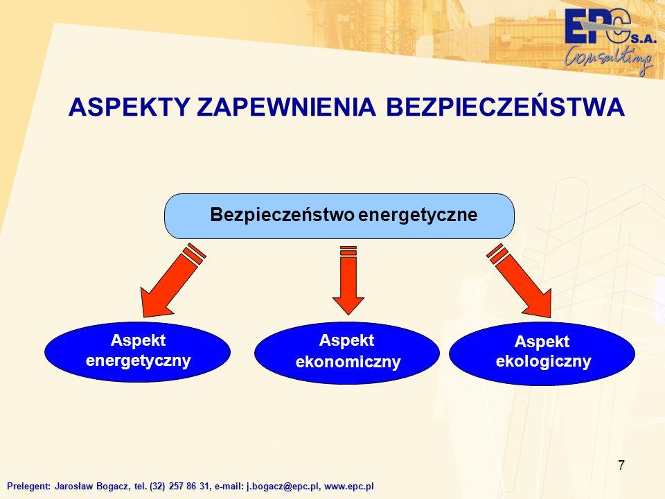 7 ASPEKTY ZAPEWNIENIA BEZPIECZEŃSTWA Prelegent: Jarosław Bogacz, tel. (32) 257 86 31, e-mail: j.bogacz@epc.pl, www.epc.pl Bezpieczeństwo energetyczne