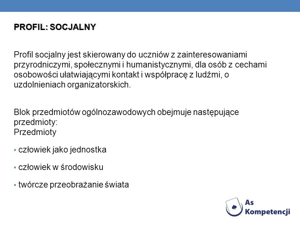 PROFIL: SOCJALNYPROFIL: SOCJALNY Profil socjalny jest skierowany do uczniów z zainteresowaniami przyrodniczymi, społecznymi i humanistycznymi, dla osó