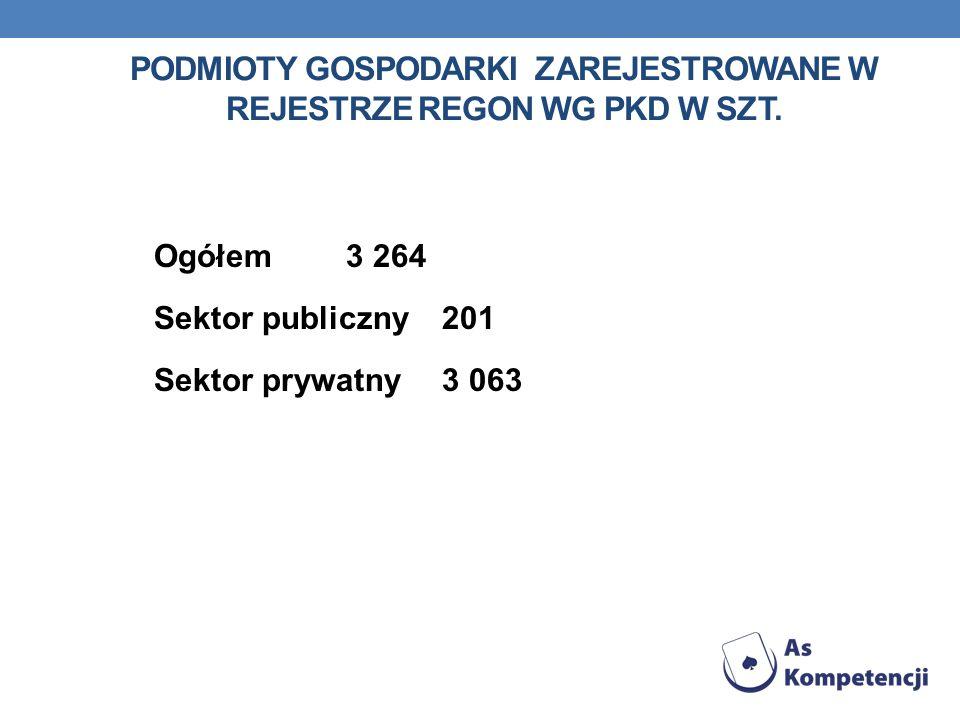 PODMIOTY GOSPODARKI ZAREJESTROWANE W REJESTRZE REGON WG PKD W SZT. Ogółem3 264 Sektor publiczny201 Sektor prywatny3 063