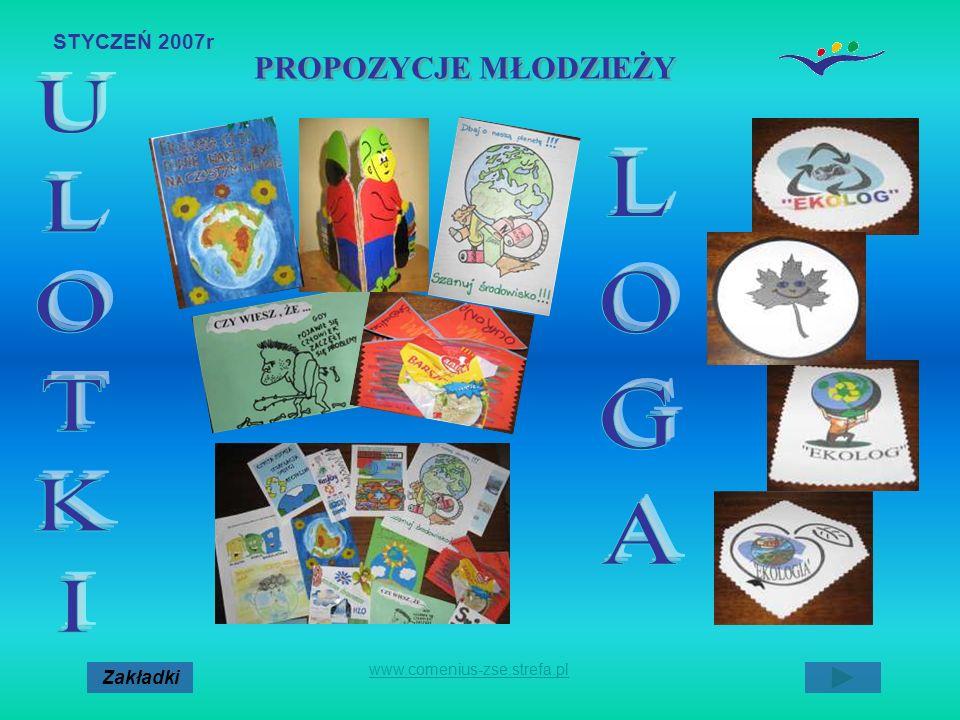 STYCZEŃ 2007r. Zakładki www.comenius-zse.strefa.pl PROPOZYCJE MŁODZIEŻY