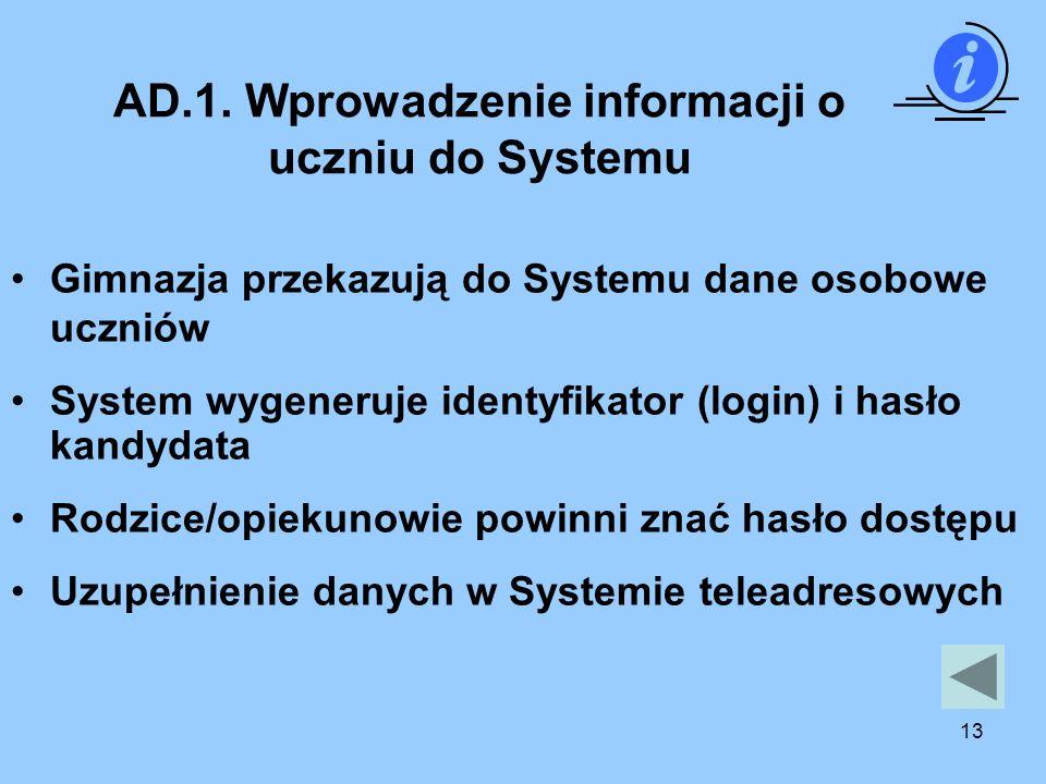 13 AD.1. Wprowadzenie informacji o uczniu do Systemu Gimnazja przekazują do Systemu dane osobowe uczniów System wygeneruje identyfikator (login) i has