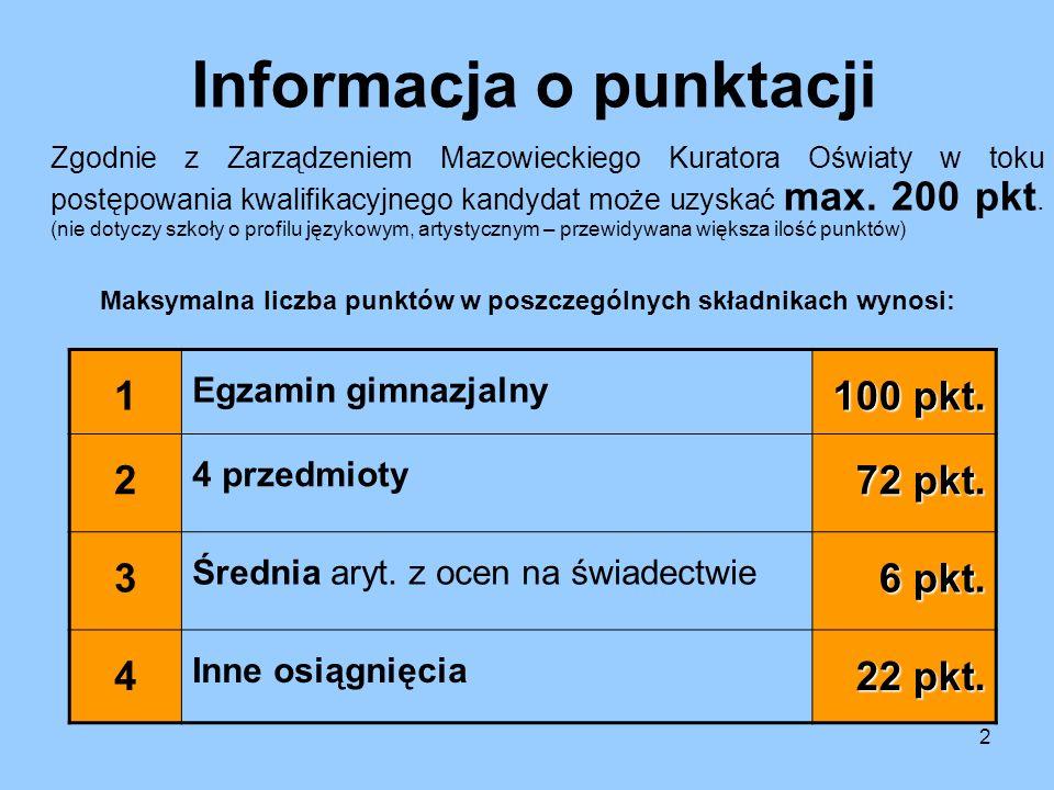2 Informacja o punktacji Zgodnie z Zarządzeniem Mazowieckiego Kuratora Oświaty w toku postępowania kwalifikacyjnego kandydat może uzyskać max. 200 pkt