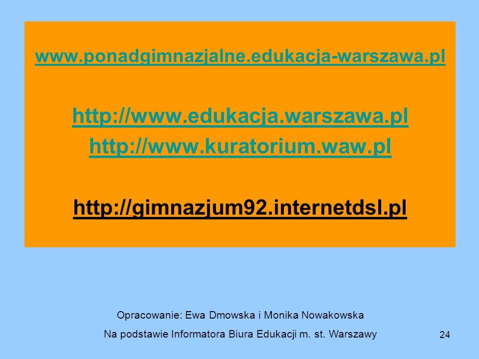 24 www.ponadgimnazjalne.edukacja-warszawa.pl http://www.edukacja.warszawa.pl http://www.kuratorium.waw.pl http://gimnazjum92.internetdsl.pl Opracowani