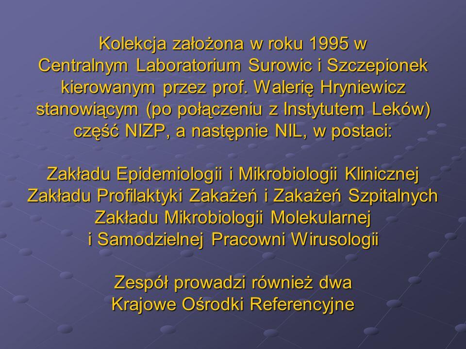 Kolekcja założona w roku 1995 w Centralnym Laboratorium Surowic i Szczepionek kierowanym przez prof. Walerię Hryniewicz stanowiącym (po połączeniu z I